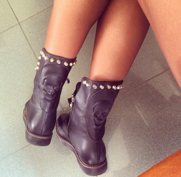 shoes studs studded shoes boots boots black skull