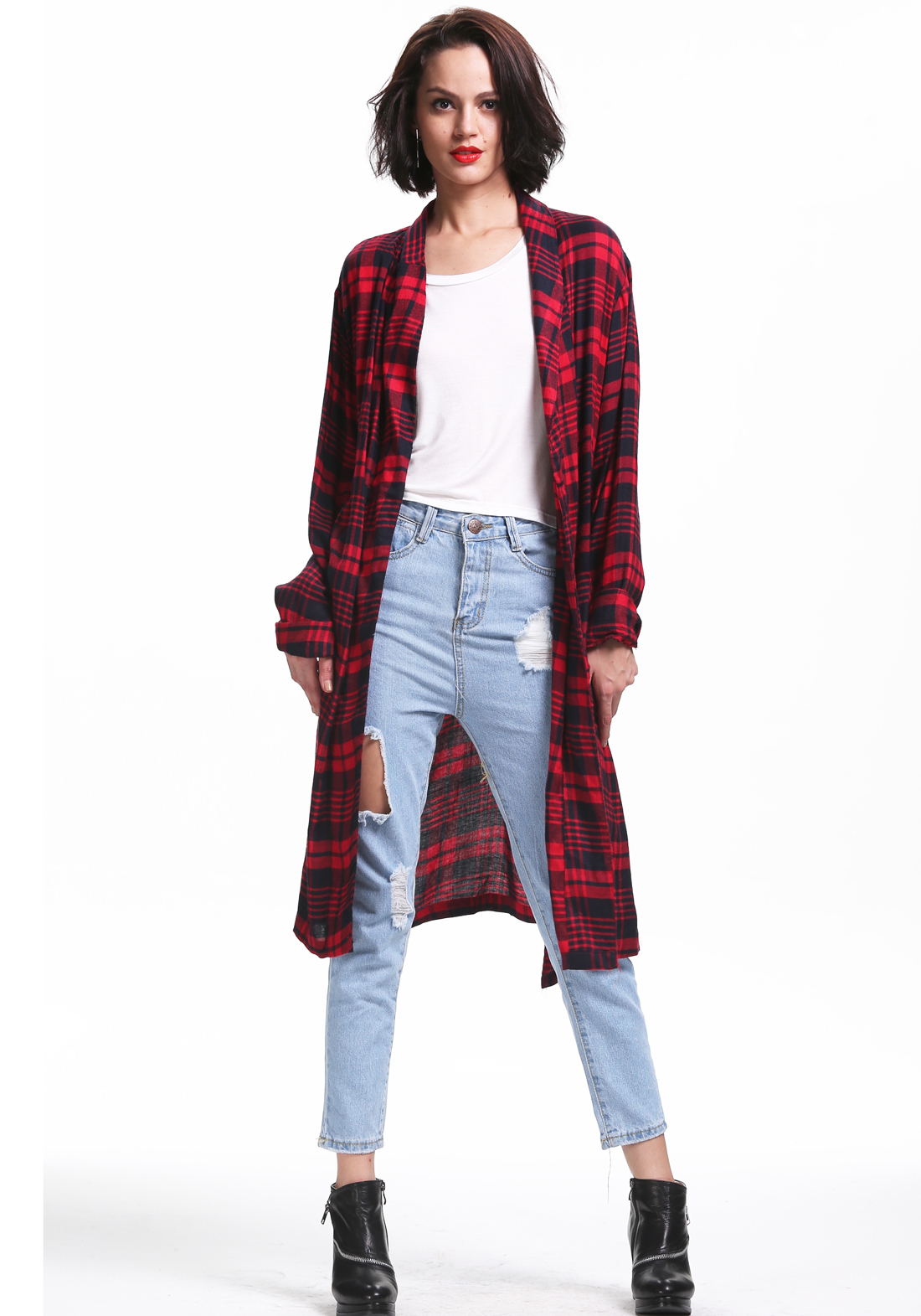 Red long sleeve plaid trench coat