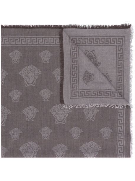 VERSACE women scarf print silk wool grey