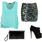 skirt,dressy shirt,sequin skirt,tank top
