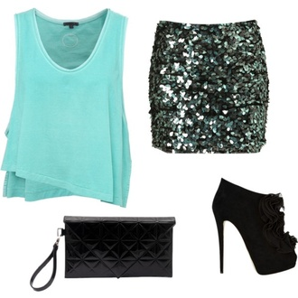 skirt dressy shirt sequin skirt tank top