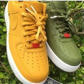 shoes,burnt orange,solid color,olive green,nike,nike air force 1,nike sneakers,green sneakers,yellow sneakers