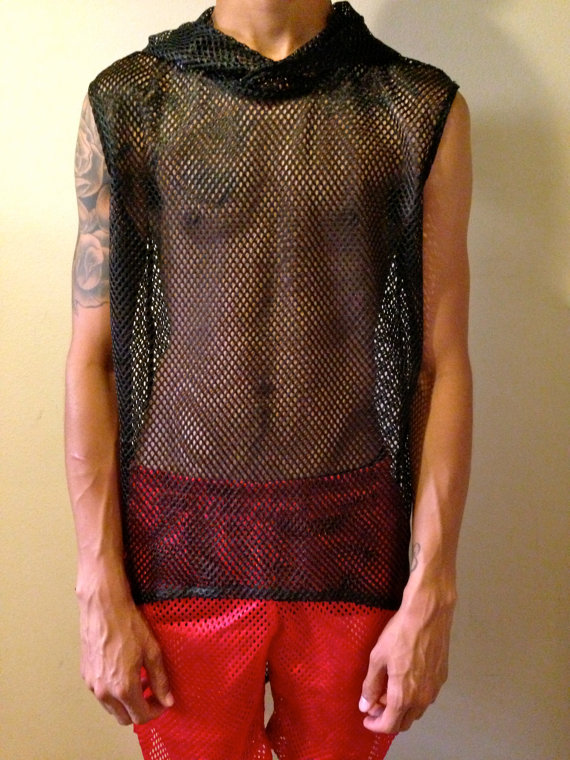 Mesh hoodie muscle by hologramcity on etsy