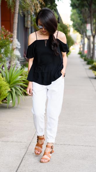 the fancy pants report blogger top pants jewels shoes sunglasses