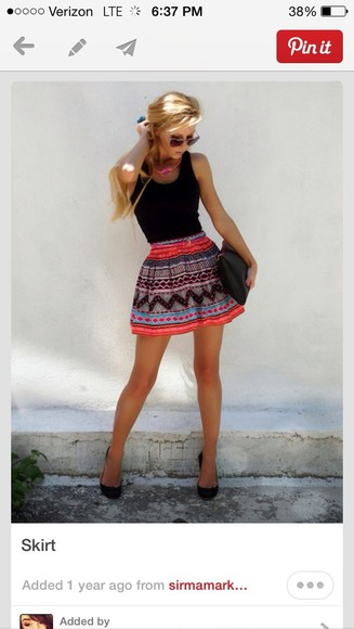 skirt aztec print colorful skater skirt tribal, pink, skater, skirt aztec