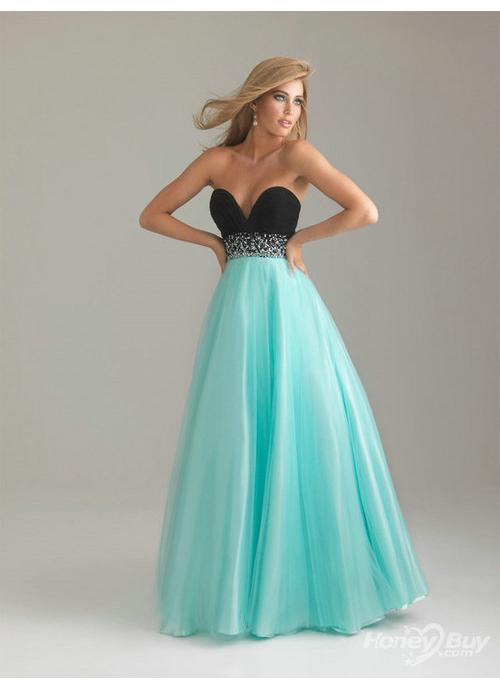 Sweetheart Beaded Long Blue Prom Dresses Online