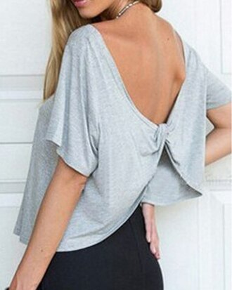 shirt grey fashion style summer cute girly open back bow casual cool trendy cropped short sleeve teenagers top sexy party top spring