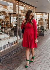 mint arrow,blogger,dress,shoes,bag,green shoes,high heel pumps,red dress
