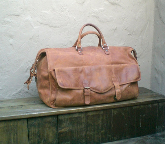 Vintage Distressed Brown Leather Large Duffle by Trustfund21