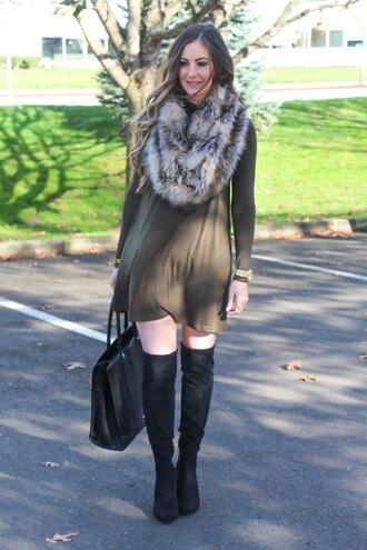 looks like rein blogger dress scarf shoes bag jewels