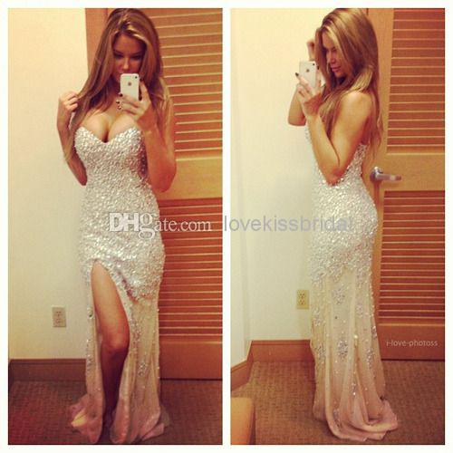 Discount 2015 White Luxury Sweetheart Crystal Prom Dresses Split Side Sleeveless Backless High Quality Sexy Mermaid Evening Gowns Celebrity Dress Online with $162.81/Piece   DHgate