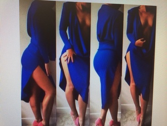 dress open front long sleeves blue side split dress