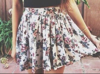 skirt floral white pink rose floral skater skirt