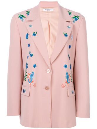 blazer women spandex wool purple pink jacket