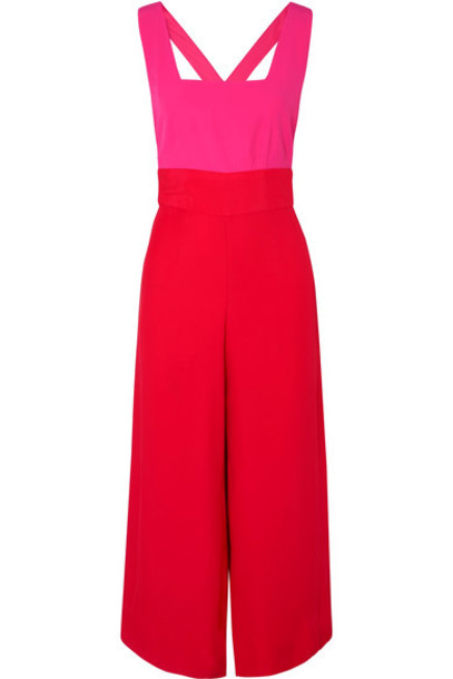 Staud jumpsuit cropped red