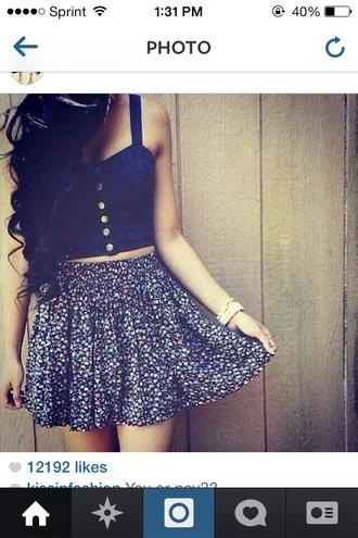 floral cute skirt shirt floral skirt sweetheart halter halter neck navy high waisted skirt high waisted