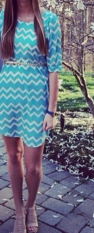 dress chevron turquoise dress spring outfits