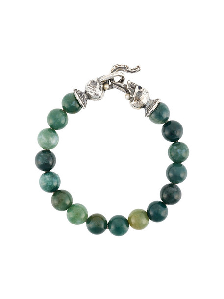 beaded bracelet skull women beaded silver green jewels