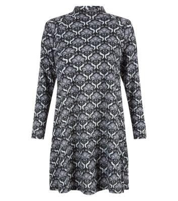 Misumi Black High Neck Tile Print Swing Dress