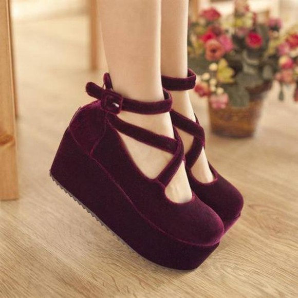 shoes velvet platform shoes cute