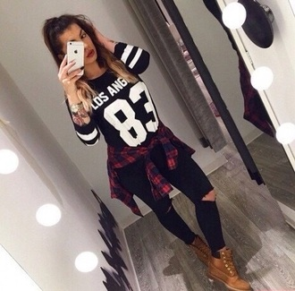 sweater blouse shoes boots timberlands boots timberland boots shoes shirt flannel shirt players shirt black white outfit tights jeans losangeles