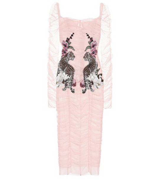 dress tulle dress embroidered pink