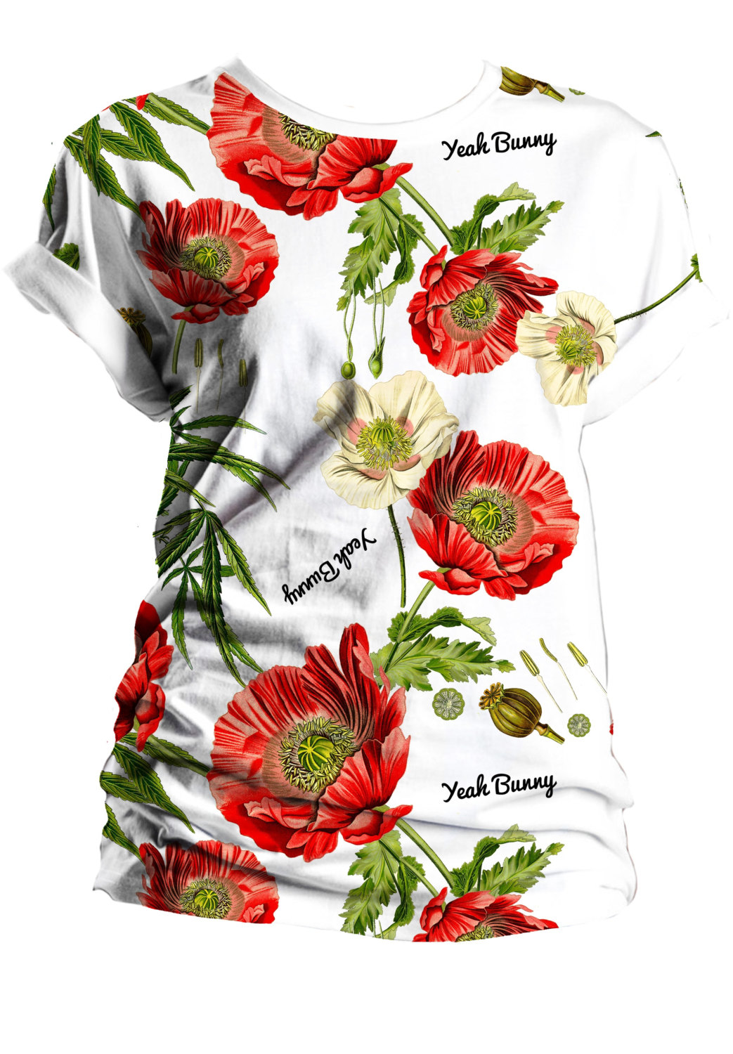 Tshirt - Poppies and Weed - by Yeah Bunny