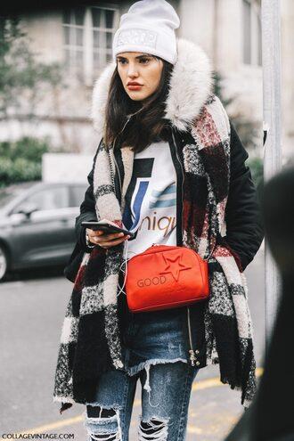 jacket tumblr fashion week 2017 streetstyle black jacket scarf tartan tartan scarf bag orange bag orange sweatshirt printed sweater denim jeans blue jeans beanie