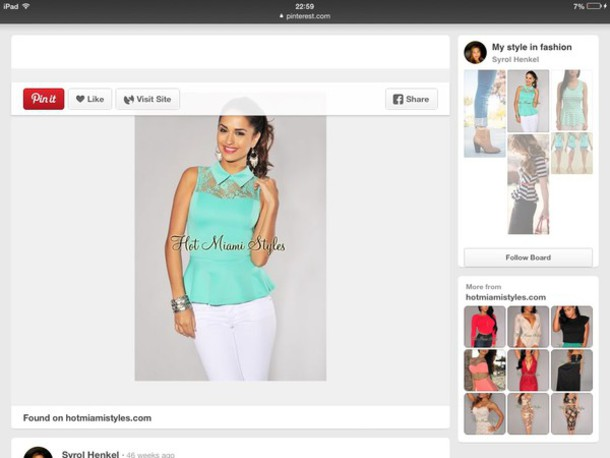 shirt peplum mint top