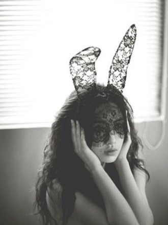 hair accessory accessory lace black cute lacey accessories bunny black lace fashion style dress ups bunny ears hair hair accesssory