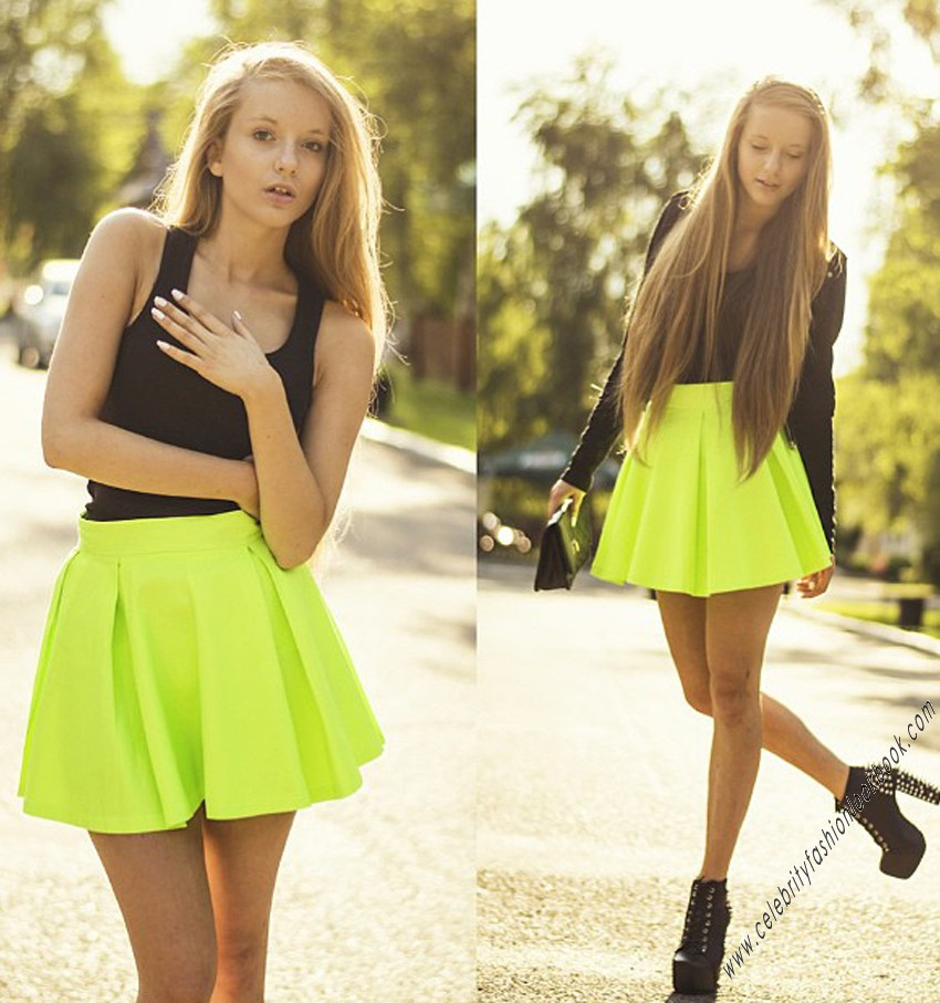 Neon coloured skater skirt