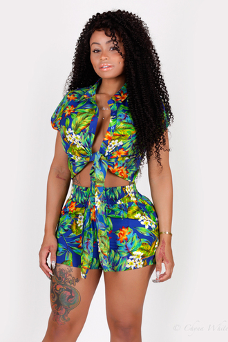 tropical short set high waisted shorts crop tops celebrity style hawaiian tyga plunge v neck shirt
