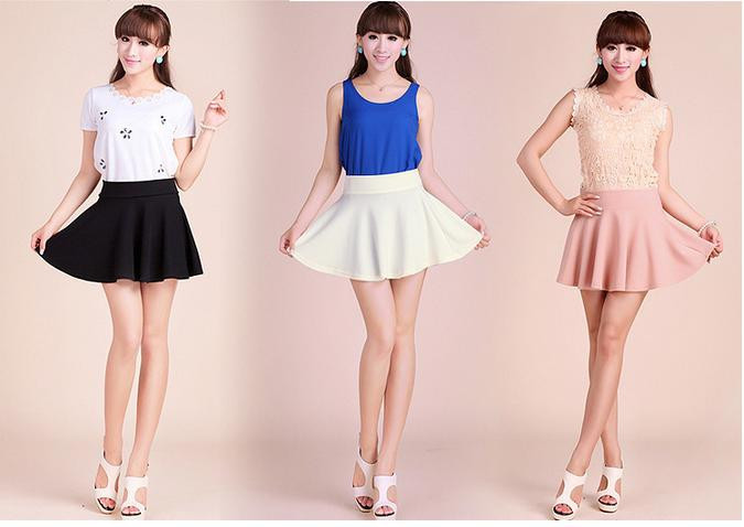 2013 women fashion short mini skirts candy color pleated skirt-in Skirts from Apparel & Accessories on Aliexpress.com