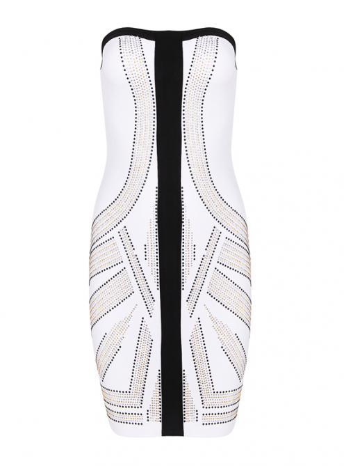 White Luxury Beaded Strapless Bandage Dress H956$149