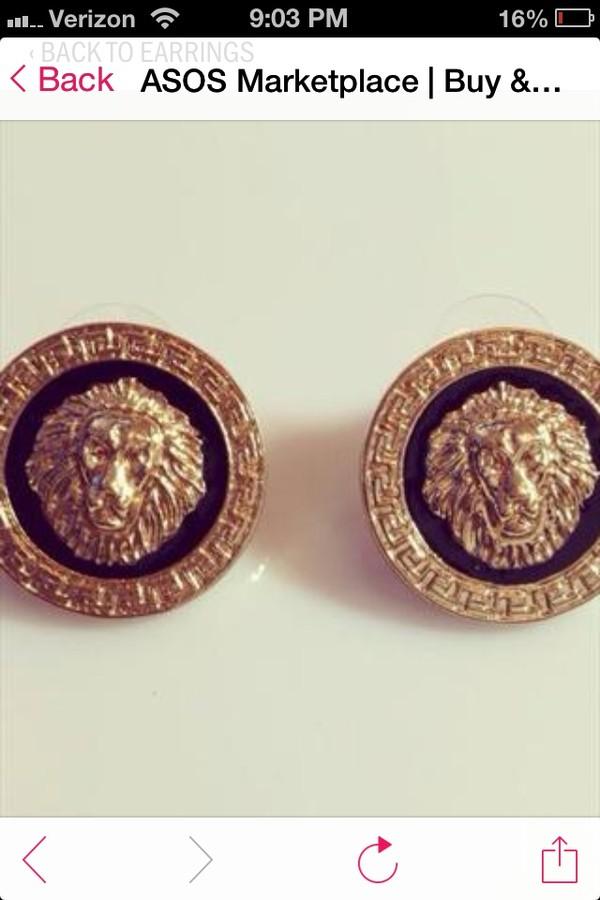 jewels earrings lions gold