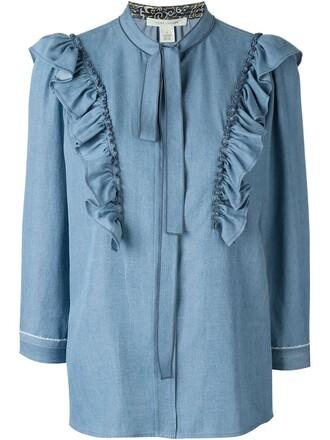 blouse denim blouse denim blue top