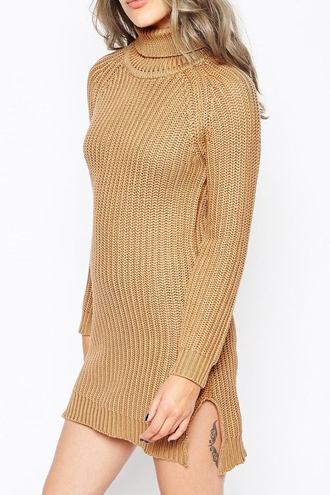 dress fashion style warm cozy cute fall outfits trendy winter outfits knitwear brown long sleeves turtleneck