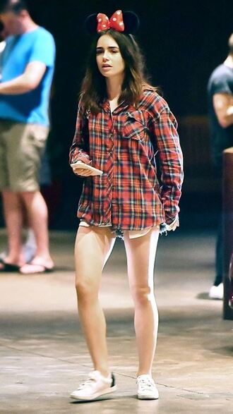 shirt sneakers lily collins shorts shoes