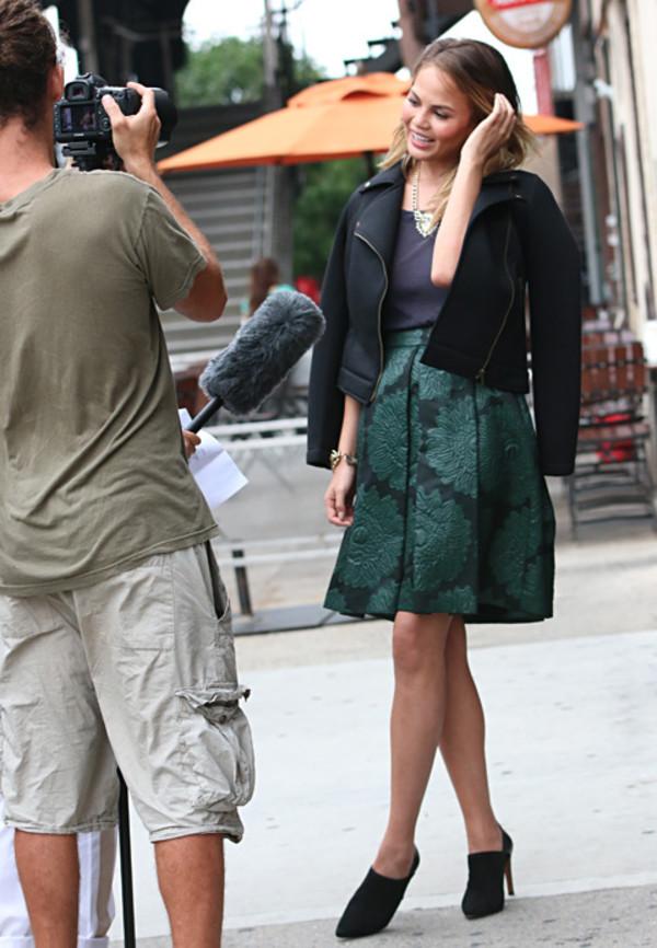 skirt a-line skirt chrissy teigen high waisted skirt forest green