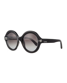 Front round sunglasses, black