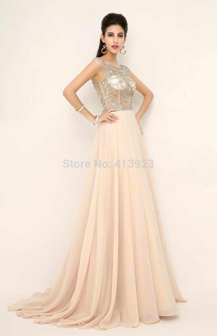 Aliexpress.com : Buy 2014 New In Stock Fashion Classic Sexy Luxury Party Dresses Chiffon Crystal Beading Scoop Neck Long Bridal Prom Evening from Reliable dress skate suppliers on Chaozhou City Xin Aojia dress Factory