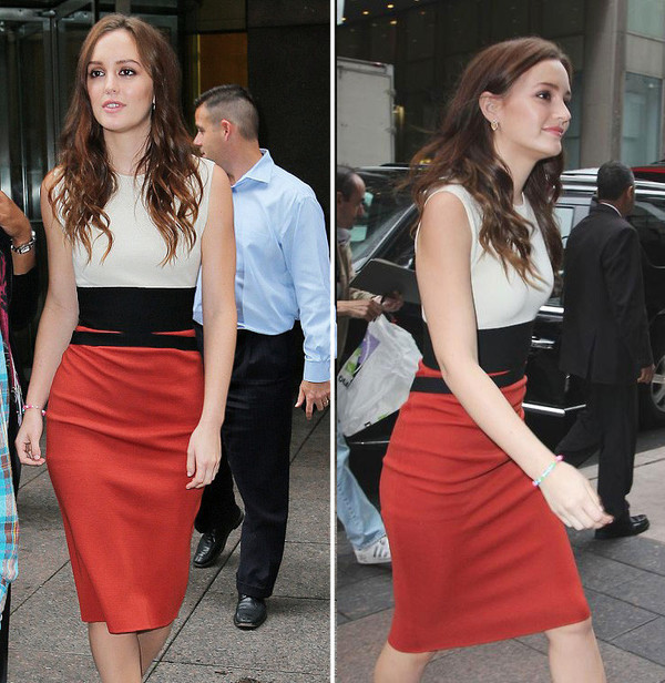 dress colorblock pencil dress bodycon dress leighton meester celebrity style celebrity style