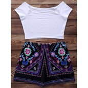 shorts,short shorts,crop tops,crop,cropped,white,aztec,set,two piece dress set,tribal pattern
