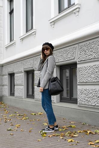 jacket beret tumblr blazer grey blazer denim jeans blue jeans sneakers low top sneakers vans bag black bag