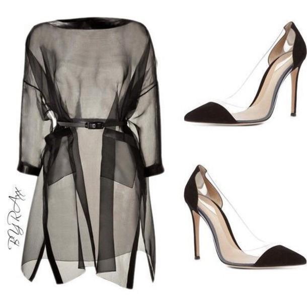 shoes heels see through black heels belt