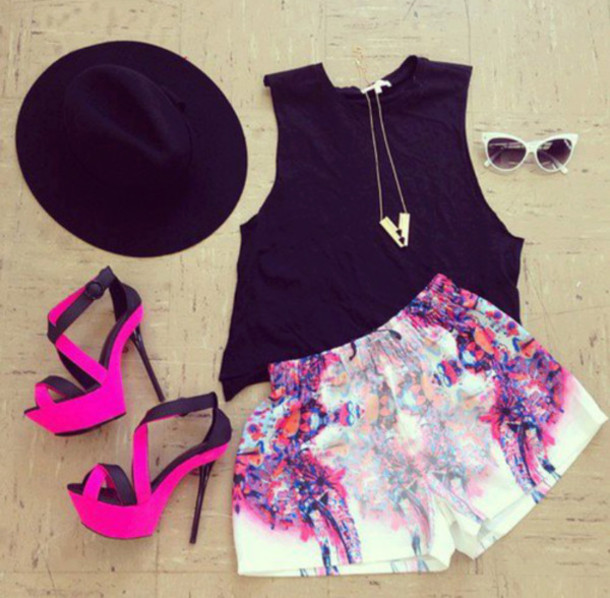 Shorts: clothes celebrity hat hipster neon pink pretty
