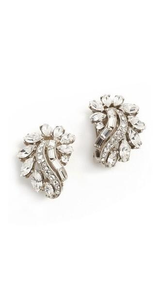 crystal earrings clear earrings silver jewels