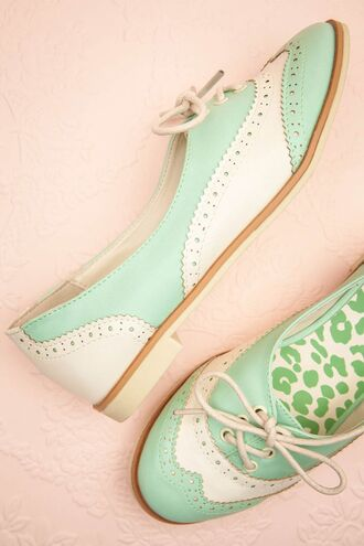 shoes lace white mint pastel summer spring oxfords cute vintage brogue shoes