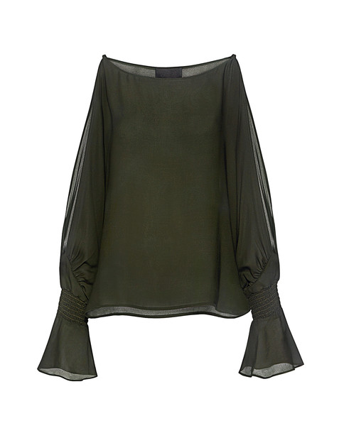 Nili Lotan blouse dark green top