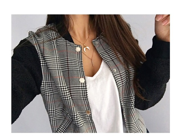 jacket fluffy sleeves bomber jacket check print